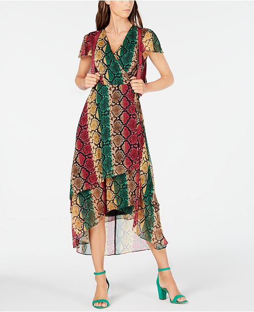 INC International Concepts INC Snake-Embossed Wrap Dress, Created for Macy's