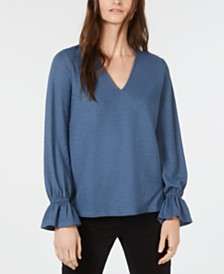 Michael Kors V-Neck Ruffled-Cuff V-Neck Shirt, Regular & Petite Sizes