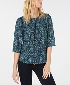 Medallion-Print Ruffled Blouse, Regular & Petite Sizes