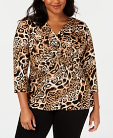 I.N.C. Plus Size Animal-Print Twist-Front Top, Created for Macy's
