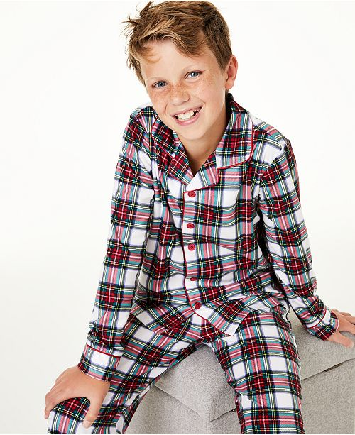 Family Pajamas Matching Kids Stewart Plaid Pajama Set, Created For Macy's