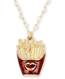 "Betsey Johnson Gold-Tone Glitter Fries Pendant Necklace, 16"" + 3"" extender"