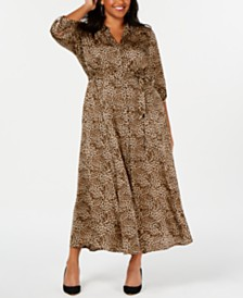 I.N.C. Plus Size Animal-Print Shirtdress, Created for Macy's