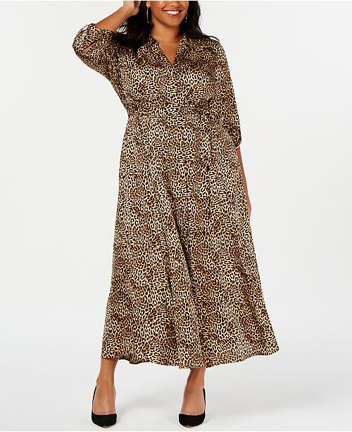 INC International Concepts I.N.C. Plus Size Animal-Print Shirtdress, Created for Macy's