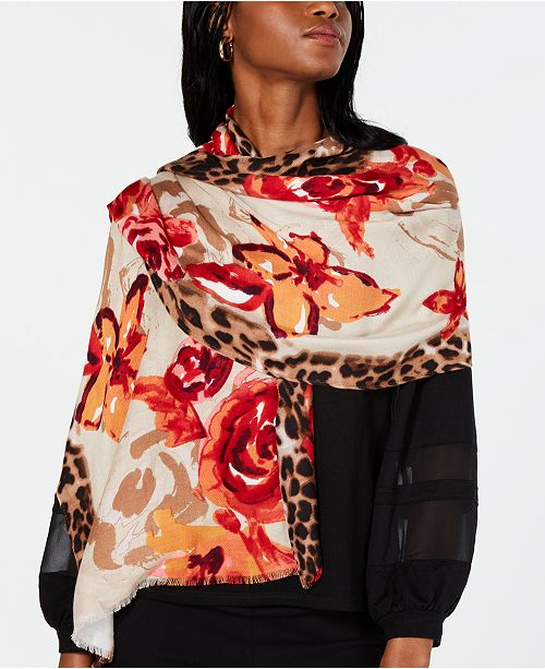 INC International Concepts INC Leopard Floral Pashmina, Created for Macy's