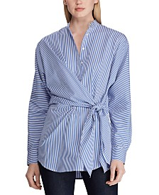Lauren Ralph Lauren Stripe-Print Tie-Waist Cotton Shirt