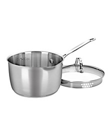 Chef's Classic Stainless Steel 3 Qt. Covered Cook-and-Pour Saucepan