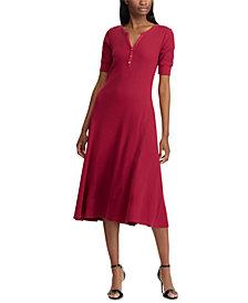 Lauren Ralph Lauren Waffle-Knit Cotton Fit & Flare Dress