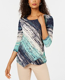 JM Collection Petite Asymmetrical Foil-Textured Top, Created for Macy's