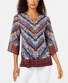 JM Collection Printed Chain-Neck Top, Created for Macy's
