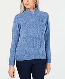 Petite Mock-Neck Cable-Knit Sweater, Created for Macy's