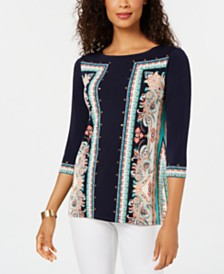 JM Collection Studded Printed 3/4-Sleeve Top, Created for Macy's