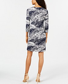 JM Collection Petite Printed Zip-Front Dress, Created for Macy's