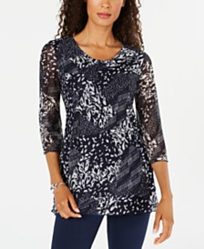 JM Collection Printed Lace Tunic, Created for Macy's