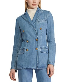 Lauren Ralph Lauren Double-Breasted Cotton Denim Blazer