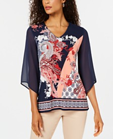 JM Collection V-Neck Printed Chiffon-Sleeve Top, Created for Macy's