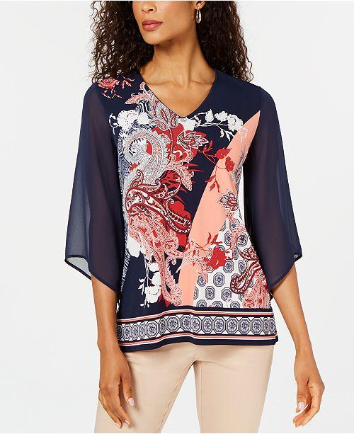 JM Collection Petite Sheer Kimono-Sleeve Top, Created for Macy's