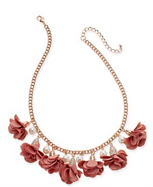 "I.N.C. Gold-Tone or Rose-Gold Tone Fabric Flower Statement Necklace, 16"" + 3"" Extender, Created for Macy's"