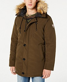 Men's Hooded Parka with Removable Faux-Fur Trim