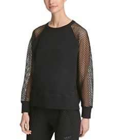 DKNY Sport Mesh-Sleeve Top