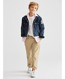 Polo Ralph Lauren Little Boys Denim Trucker Jacket, Oxford Shirt, Crewneck T-Shirt & Suffield Pants