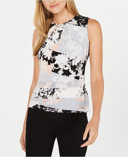 Calvin Klein Sleeveless Floral Print Pleat-Neck Top
