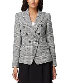 Tahari ASL Plaid Double-Breasted Blazer