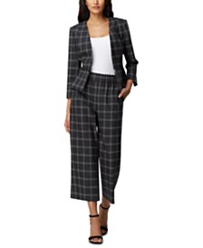 Tahari ASL Plaid Jacket & Cropped Pants