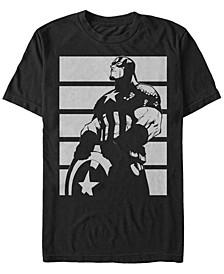 Men's Captain America Contrast Portrait Short Sleeve T-Shirt