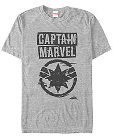Men's Captain Marvel Painted Distressed Logo Short Sleeve T-Shirt