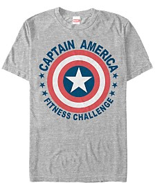 Marvel Men's Comic Collection Captain America Fitness Challenge Short Sleeve T-Shirt