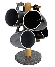 HDS Trading 6 Cup Bamboo Mug Tree Holder Stand with Granite Base