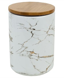HDS Trading Marble Ceramic Large Canister with Bamboo Lid
