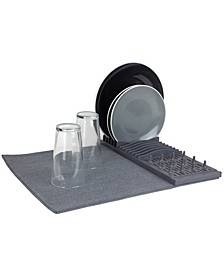 HDS Trading Low Profile Plastic Dish Drying Rack with Micro Fiber Drying Mat