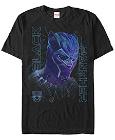 Men's Black Panther Neon Line Art Panther Short Sleeve T-Shirt