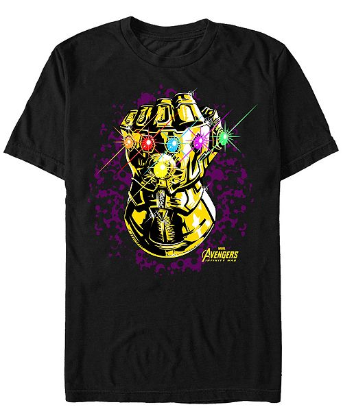 Marvel Men's Avengers Infinity War Purple Splatter Gauntlet Short Sleeve T-Shirt