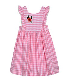 Laura Ashley London Baby Girl's Sleeveless Ruffle Dress with Floral Applique