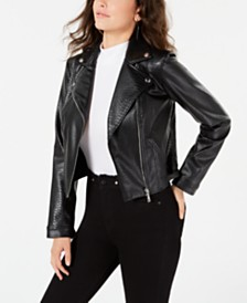 GUESS Juniors' Faux-Leather Moto Jacket