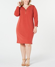 JM Collection Plus Size Zip-Neck Dress, Created for Macy's