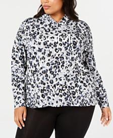 Calvin Klein Plus Size Animal-Print Logo Hoodie