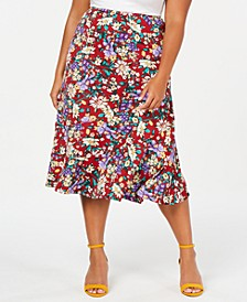 Plus Size Printed Diagonal Tiered Skirt