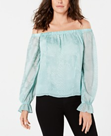 GUESS Juniors' Off-The-Shoulder Snakeskin-Print Top
