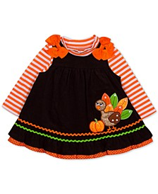 Baby Girls 2-Pc. Striped Top & Corduroy Turkey Jumper Set