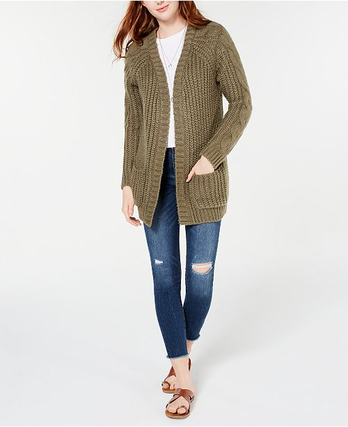 Hippie Rose Juniors' Cable-Knit Cardigan
