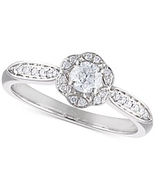 Certified Diamond Flower Engagement Ring (3/8 ct. t.w.) in 14k White Gold
