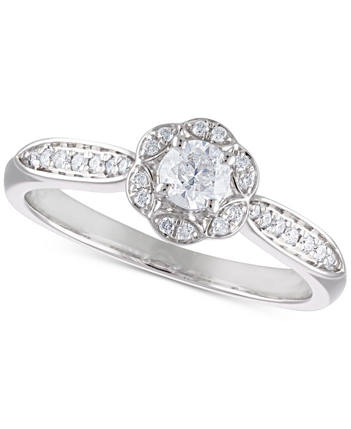 Macy's - Certified Diamond Flower Engagement Ring (3/8 ct. t.w.) in 14k White Gold