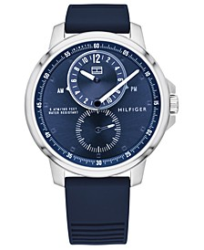 Men's Blue Silicone Strap Watch 44mm, Created for Macy's