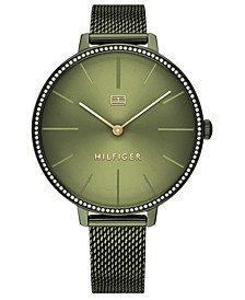 Women's Green Stainless Steel Mesh Bracelet Watch 38mm, Created For Macy's