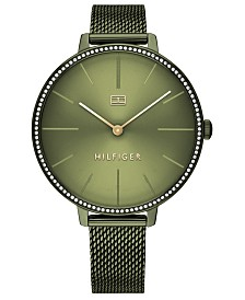Tommy Hilfiger Women's Green Stainless Steel Mesh Bracelet Watch 38mm, Created For Macy's