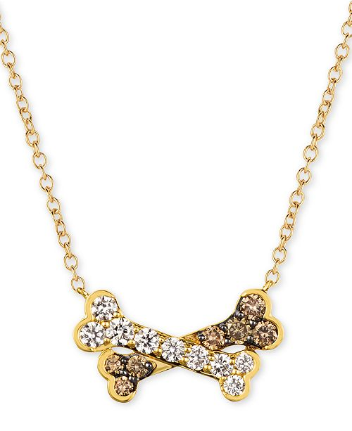 """Le Vian I Love Dogs Collection 20"""" Pendant Necklace (3/4 ct. t.w.)  in 14k Gold"""